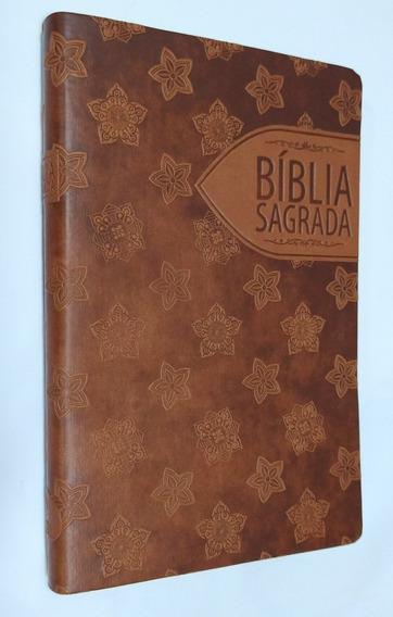 Bíblia Sagrada Slim Ntlh / Capa Luxo Marrom Floral