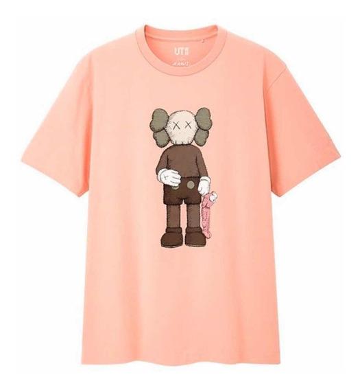 Playera Tshirt Kaws X Uniqlo Companion Pink Rosa Original
