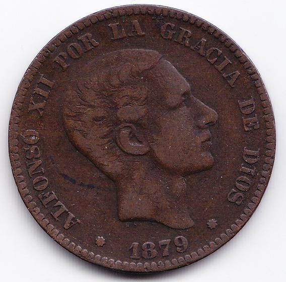 España Moneda 5 Centimos 1879 Bronce Alfonso Xii Km 674 Vf