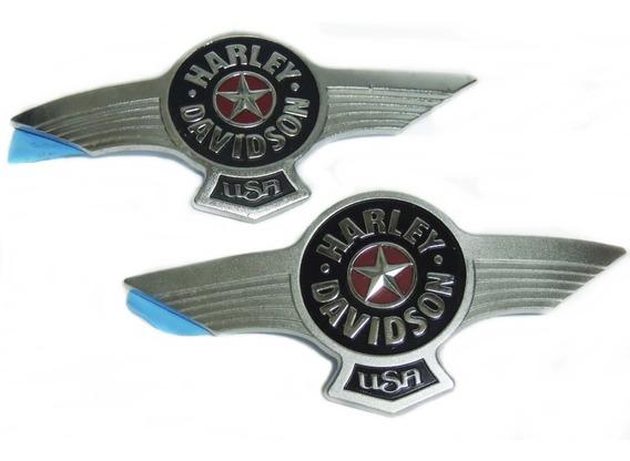 Par Emblema Adesivo Polido Tanque Harley Davidson