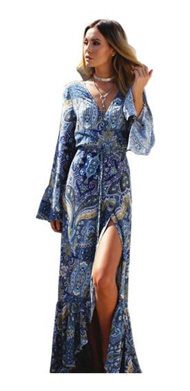 Vestido Boho Largo Importado Ciudad Casual Viajar Selena