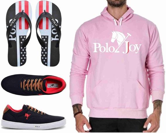 Tenis Masculino Sapatênis + Chinelo + Moletom Polo Joy
