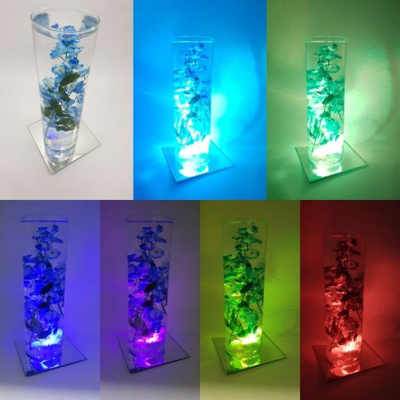 15 Centro De Mesa Vela Led Luz Luminoso Florero + Espejo