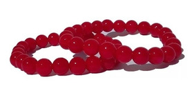 02 Pulseiras Masculina Bolinhas Vermelhas