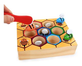 Juego Atrapa Abejas Madera Colores Montessori