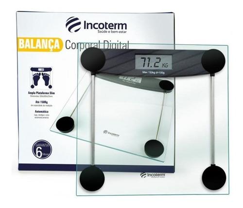 Imagem 1 de 4 de Balança Corporal De Banheiro Vidro Transparente Pop Incoterm