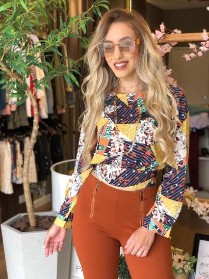 Camisa Feminina Lindíssima Estampada De Amarrar