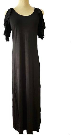 Vestido Negro Largo Tubo Tajos Hombros Descubiertos Sweet