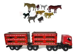 Caminhão Madeira Boiadeiro 65 Cm Bi Trem Plástico C Animal