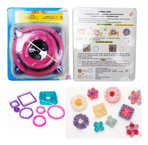 Kit Telar Para Flores Circular Cuadrado Hexagona Flower Loom