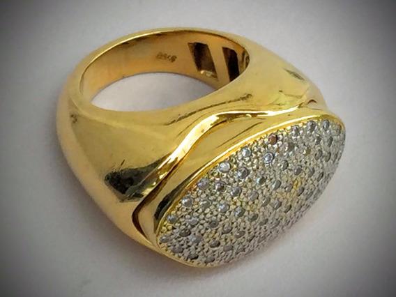 Anel Ouro 18k-750-26.2 Gr. Cravejado C/diamantes Aro 16.
