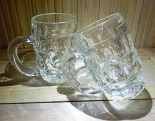Tarro De Cerveza Antiguos De Cristal Pesado Precio 2 Piezas