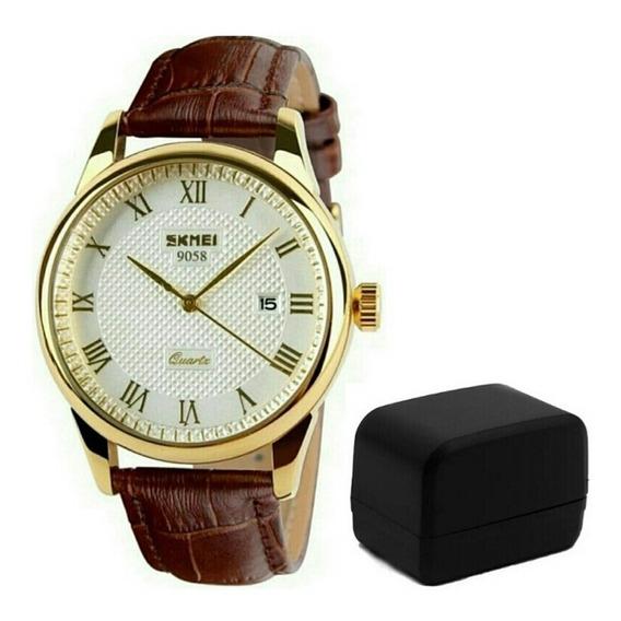Relógio De Pulso Masculino Skmei 9058 Luxo Original P Couro