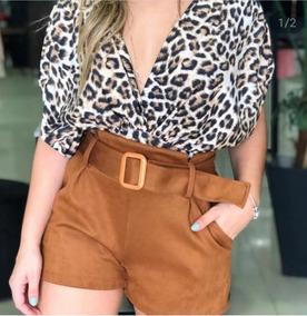 Shorts Feminino Suede Com Cinto Moda Instagram