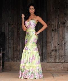 Vestido Estampado Cetim Floral Casamento Dia Madrinha
