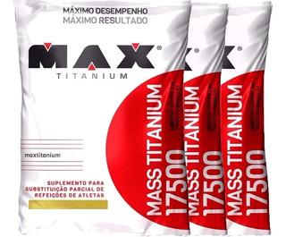 3x Mass 3kg 17500 Hipercalórico Max Titanium 9kg