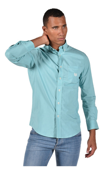 Camisa Stretch Fit Chaps Verde 750735462-35ph Hombre