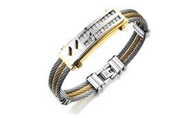 Pulseira Masculina Bracelete Aço Inox + Ouro 18k