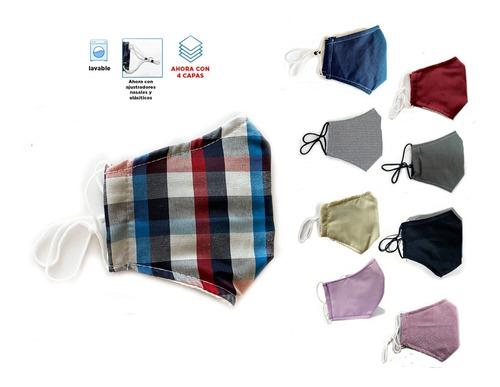 Cubrebocas Tela 4 Capas, Porta Filtro, Ajustable + 2 Filtros