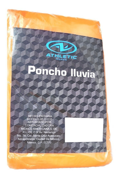 Poncho Impermeable Para Lluvia Atletic Works Naranja