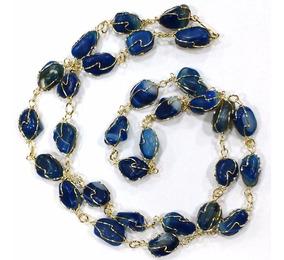 Colar De Ágata Azul Pedras Brasileiras Naturais Selecionadas