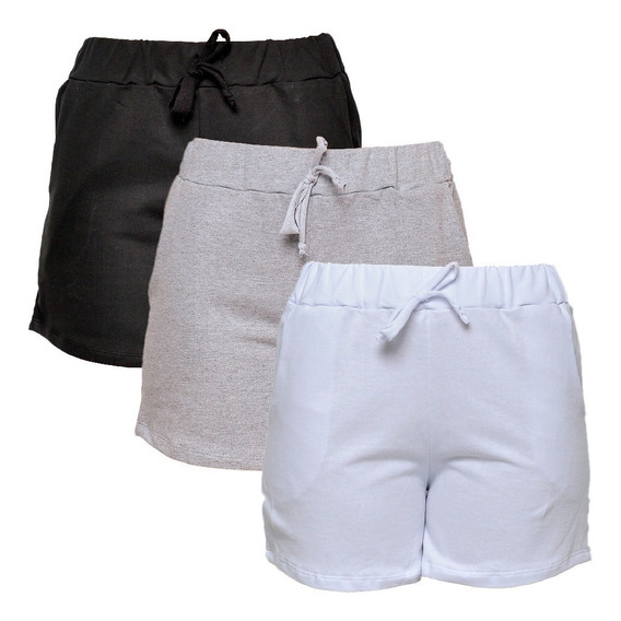Kit Com 3 Shorts De Moletim Style Feminino