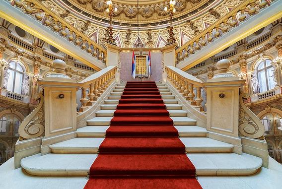 Fundo Fotográfico Tecido 3d Escadaria Hall Palacio 4,0x3,0m