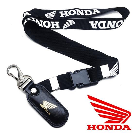 Chaveiro Cordão Honda Moto Couro Preto Mosquetão Cg Biz Tita