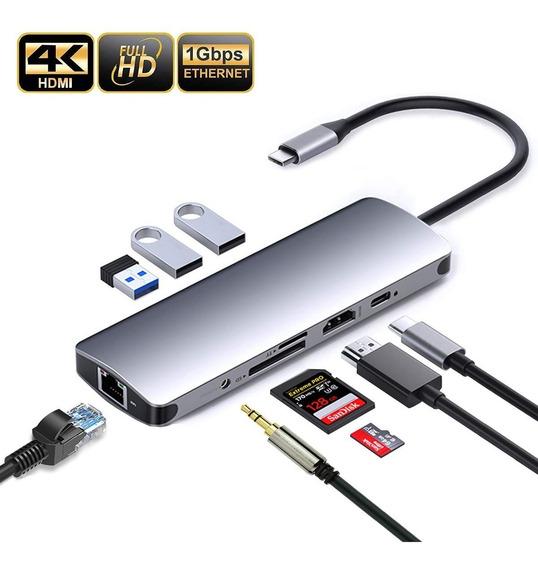 Adaptador Hub Macbook Ultrabook 9in1 Tipo C Hdmi 4k Dock