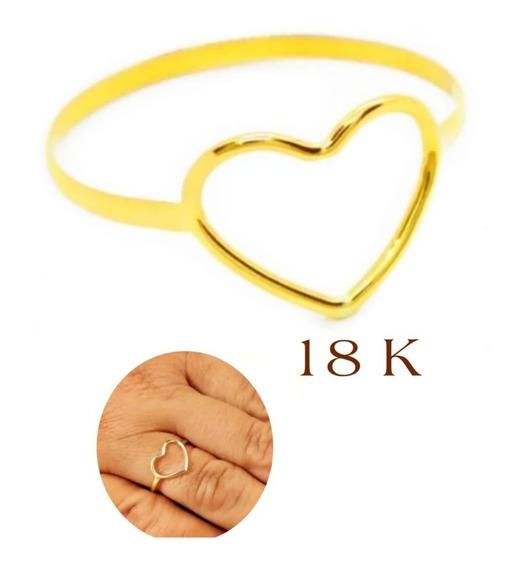 Anel Ouro 18k Feminino Coração Reforçado