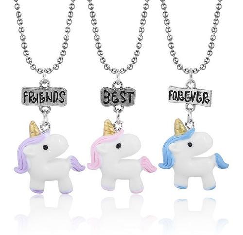 Imagen 1 de 5 de Set 3 Collares Unicornios Best Friends Forever Amigos