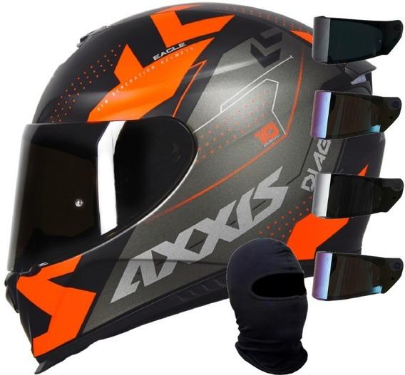 Capacete Mt Axxis Eagle Diagon Preto Fosco Laranja + Viseira Extra + Touca Ninja Lançamento Pronta Entrega