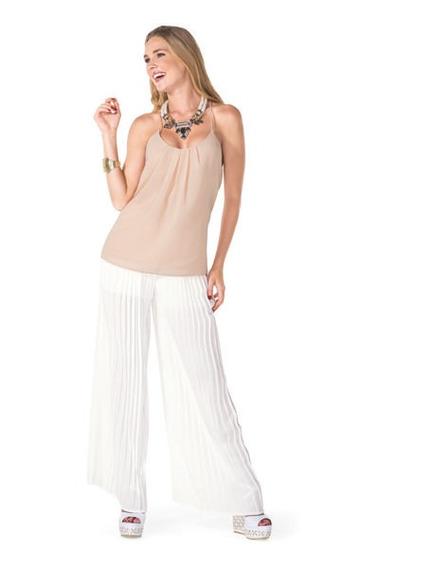 Pantalon Dama Casual Holgado Blanco Mundo Terra 008271