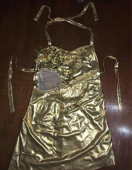 Vestido Para Patin Artístico Dorado Engomado Con Lentejuelas