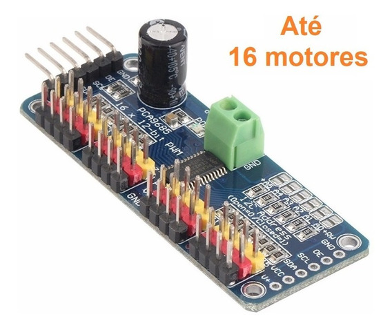 Placa Controladora Servo 16 Canais I2c Pwm Led Motor