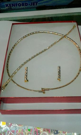 Conjunto De Oro Laminado Florentino De 18kts Exelentecalida
