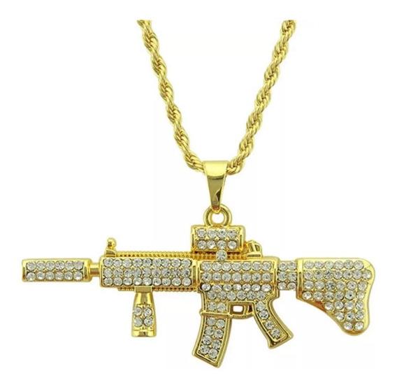 Colar Fuzil M4a1 Cordão Ouro Brilhante Arma Ar Frete Grátis
