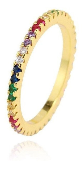 Anillo Rainbow Delgado Circonia Colorido Arcoiris Unisex