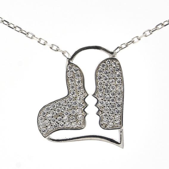 Colar Beijo Amor Casal Namorados - Prata Turca 925 Importada
