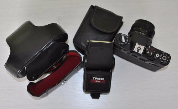 Antiga Maquina Fotográfica Zenit Completa Com Flash E Estojo