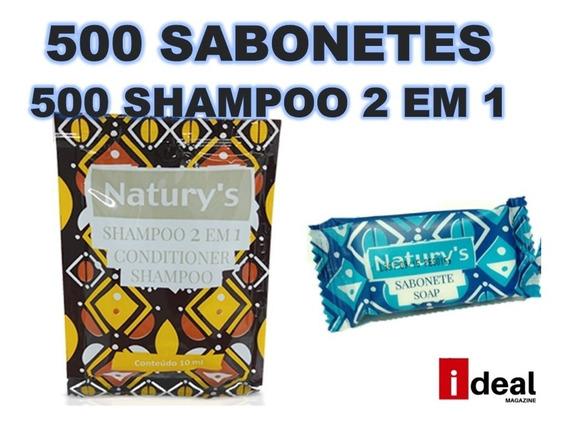 Kit 500 Sabonetes 10gr E 500 Shampoo 2 Em 1 Hotel Motel