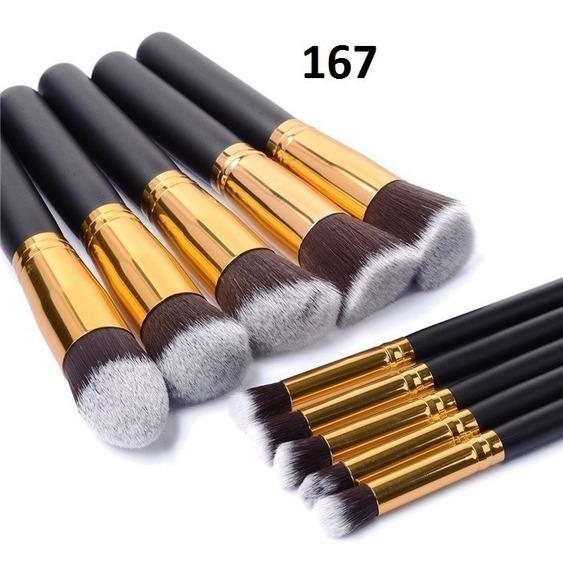 Kit Pinceis Pincel Maquiagem Conjunto Profissional 10 Pçs