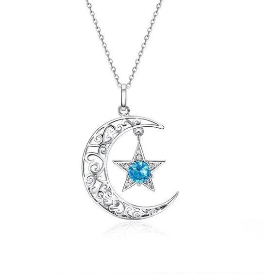 Cordão Prata 925 Lua E Estrela Pedra Zircônia Estilo Pandora