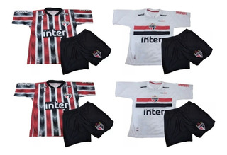 Kit 2 Conjuntos São Paulo Infantil Camiseta E Shorts 2019