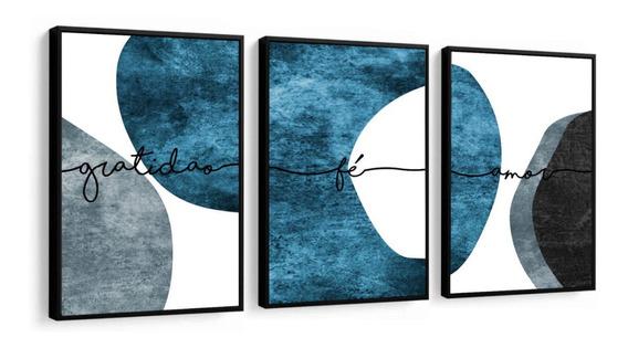 Quadro Minimalista Azul E Neutro Fé Amor Gratidão Abstrato G