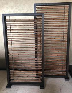 Biombos De Bambú Con Marco De Madera.