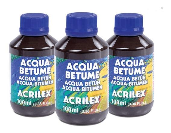 6 Frascos Acqua Betume Acrilex 100ml