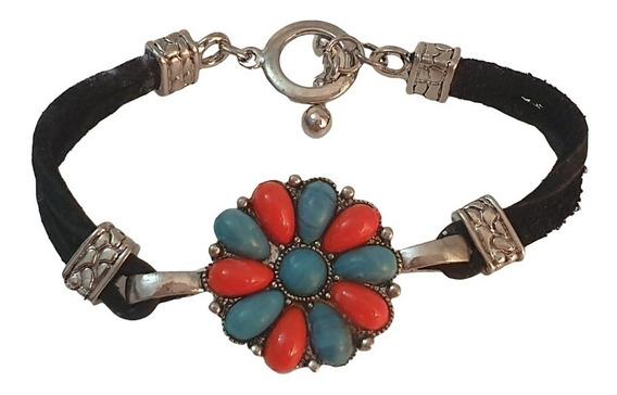 Bracelete Couro Prata Medalhao Pedras Turquesa Vermelhas Eua