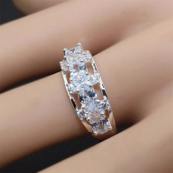 Anel Prata 925 Pedra Cristal Natural
