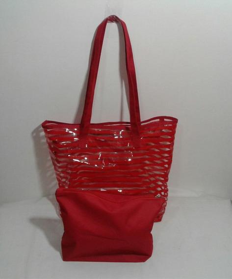 Bolsa Feminina Plástico Listrada Transparente C/ Necessaire